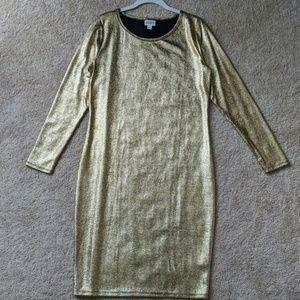 NWOT shiny gold Lularoe Julia dress